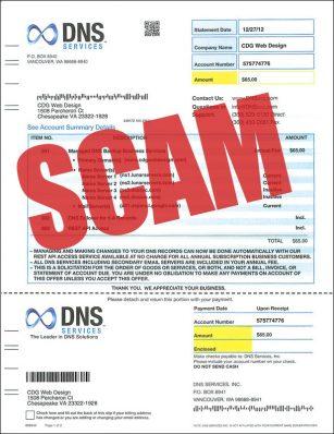 dns services scam invoice