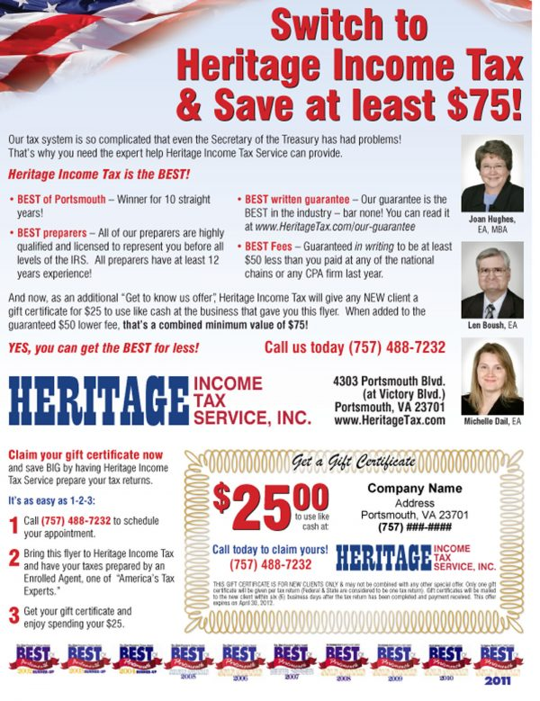 Heritage Tax Partner Promo Flyer