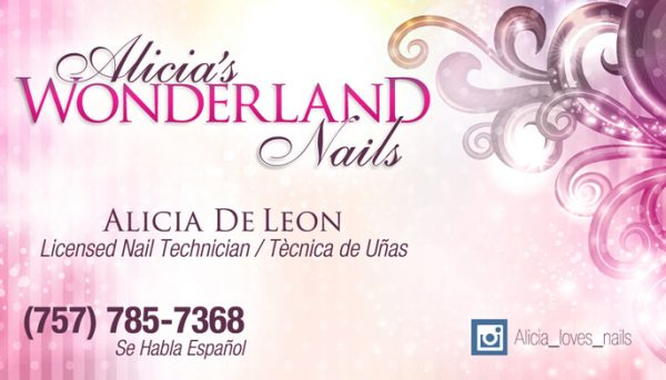 Alicias Wonderland Nails Business Card