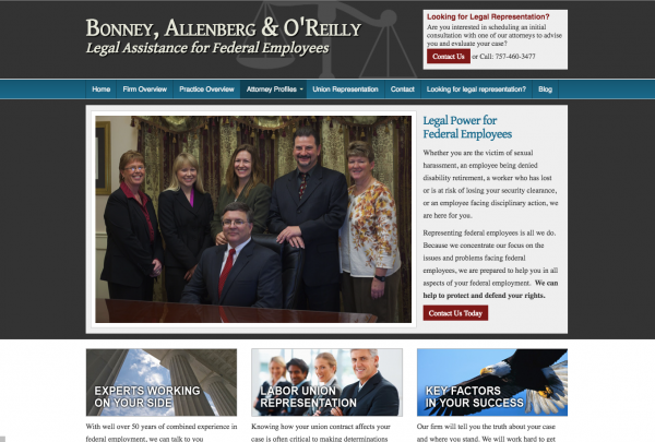 Bonney, Allenberg & O'Reilly, a Virginia Beach law firm Website
