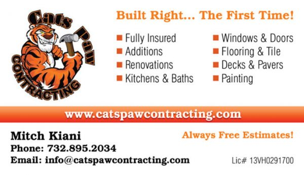 Cats Paw Contracting Business Cards