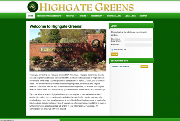 Highgate Greens HOA Website