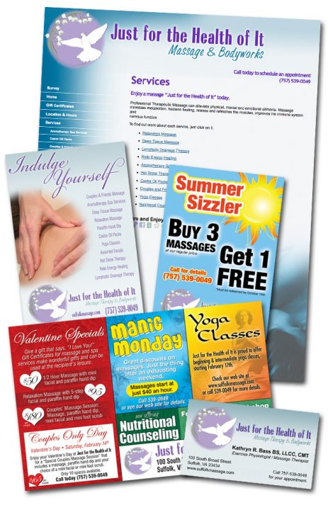 brochures, postcards, flyers for local massage studio