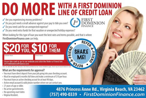 Dominion Finance Marketing Postcard