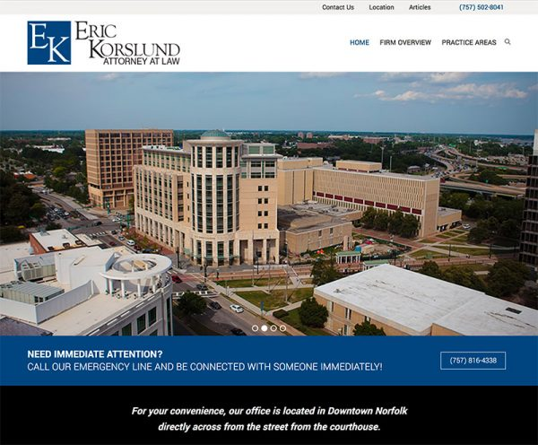 Website for Norfolk Criminal Lawyer Eric Korslund