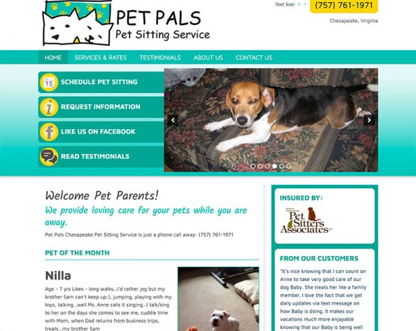 Chesapeake Pet Sitting Website