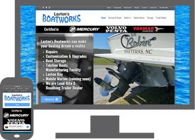laytons boatworks website desktop and mobile